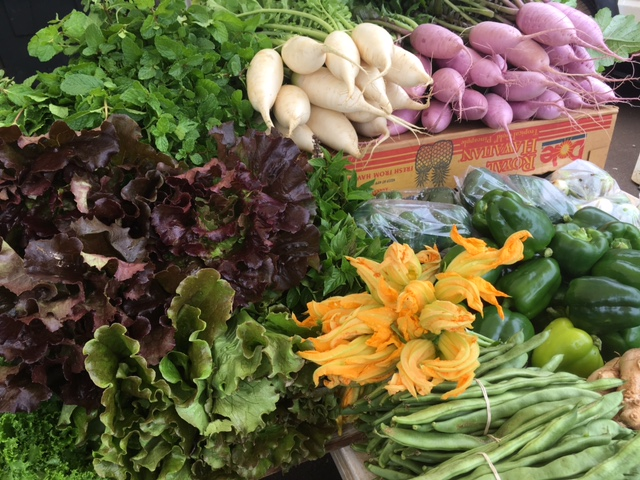 Some of Dang's beautiful produce, including lettuces, zucchini blossoms, fresh mint and daikon radishes.