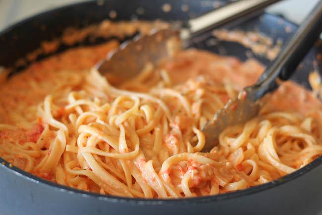 Fettucini with creamy red pepper alfredo sauce