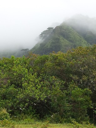 Makaleha mountains overtaken by weather