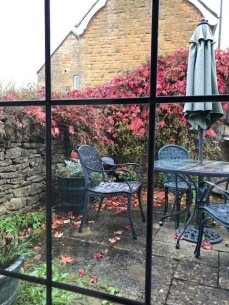 Our cottage patio on a dreary fall day