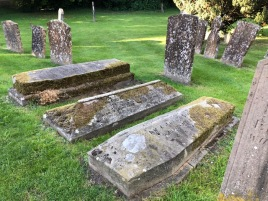 Coffin-shaped gravestones in the Blockley Churchyard