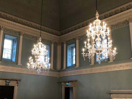 Two of the four Ballroom chandeliers