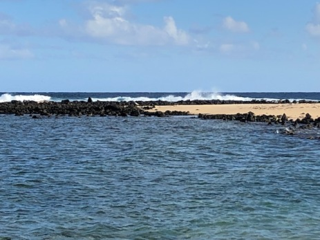 The sandbar at Poipu Beach Park