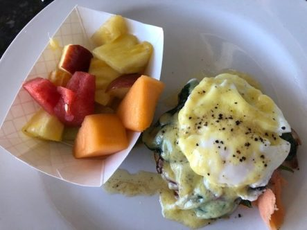 I had a super delicious smoked salmon egg Benedict and fruit salad