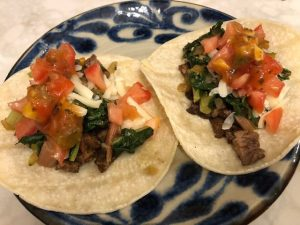 Steak & Swiss chard street tacos